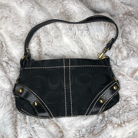 Coach Black and White Thread Shoulder Swinger